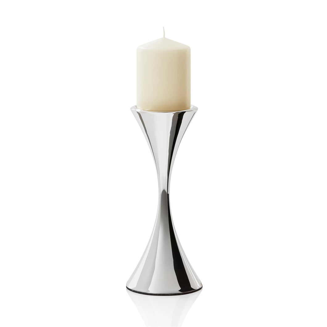 Robert Welch Arden Bright Stainless Steel Tall Pillar Candleholder - Gift-Boxed