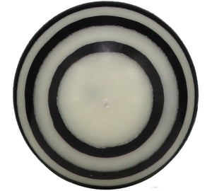 British Colour Standard Eco Fair Trade Striped Ball Candle, Jet Black & Pearl White, Small