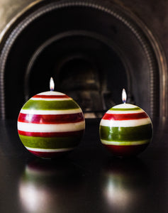 British Colour Standard Eco Fair Trade Striped Ball Candle, Guardsman Red, Pearl White & Olive, Large