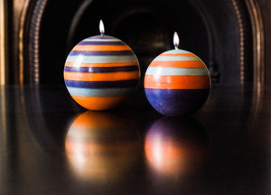 British Colour Standard Eco Fair Trade Striped Ball Candle, Marigold, Gunmetal and Opaline, Large