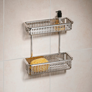 Robert Welch Burford Bathroom Double Shower Basket In Polished Stainless Steel