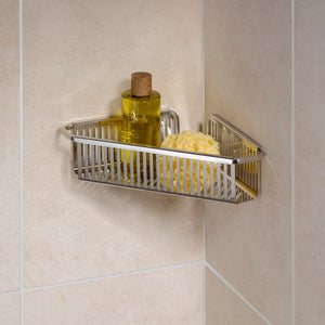 Robert Welch Burford Bathroom Single Corner Shower Basket In Polished Stainless Steel