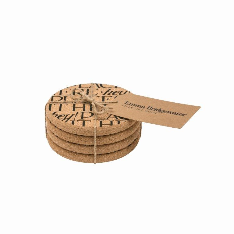 Emma Bridgewater Black Toast Round Cork Coasters, set of 4