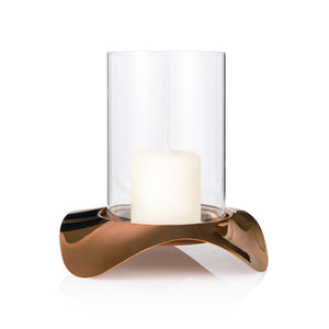 Robert Welch Drift Dusk Hurricane Lamp, Stainless Steel With Copper Finish & Glass Surround, Gift-Boxed