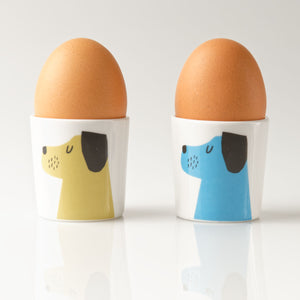 Repeat Repeat Happiness 'Love Me Love My Dog' Egg Cups, Set of 2, Olive/ Blue