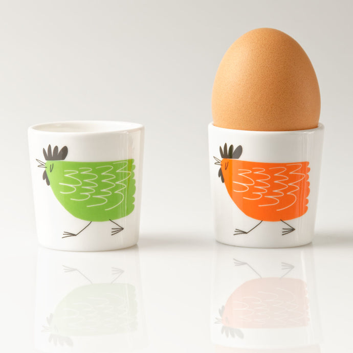 Repeat Repeat Happiness Chicken Egg Cups, Set of 2, Orange/Green