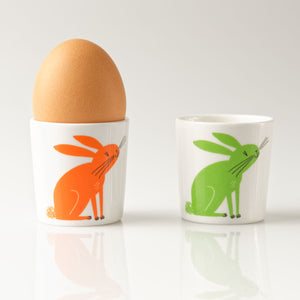 Repeat Repeat Happiness Rabbit Egg Cups, Set of 2, Orange/Green