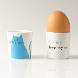 Repeat Repeat Happiness 'Love Me Love My Cat' Egg Cups, Set of 2, Olive/ Blue