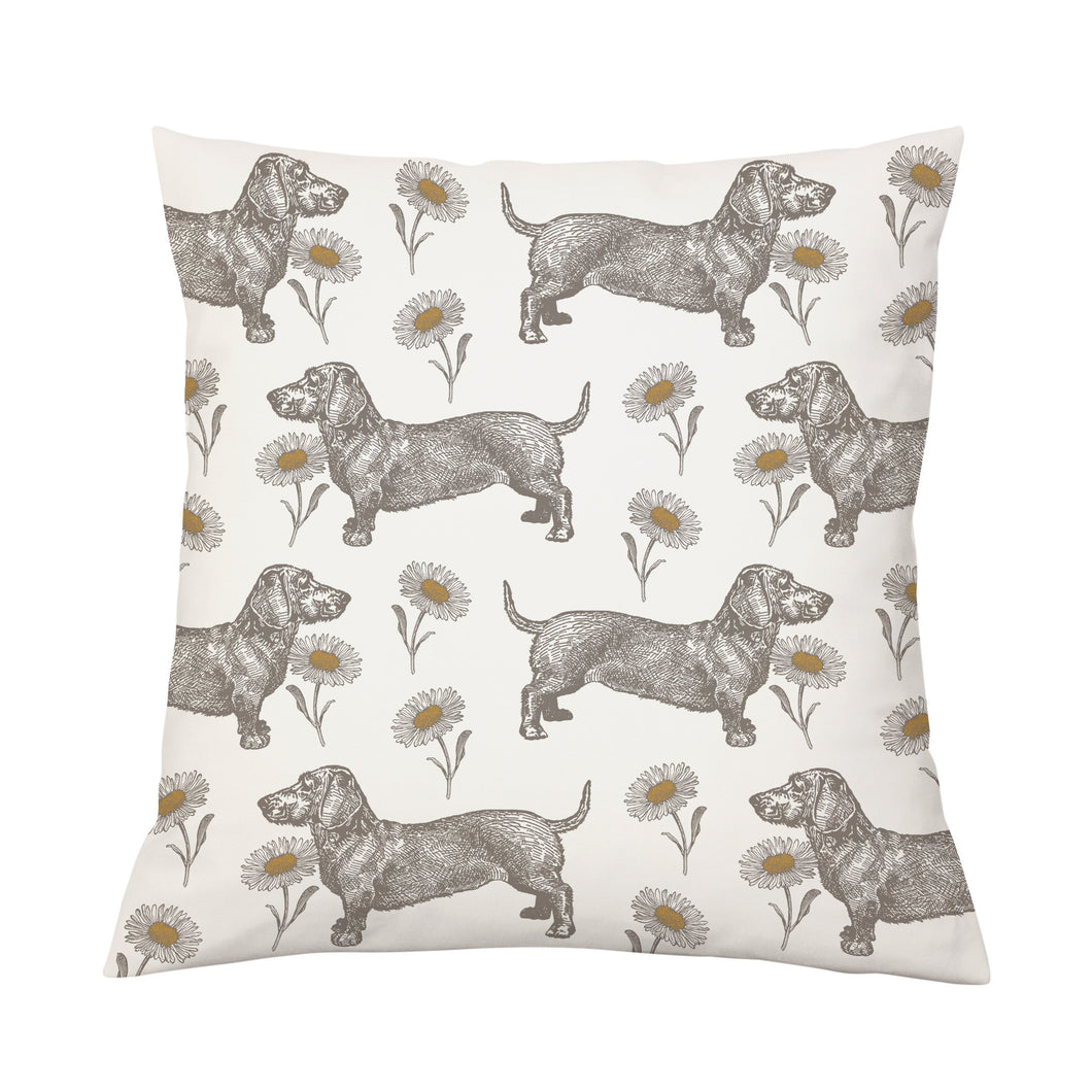 Thornback & Peel Dog & Daisy Cushion on Oyster 45cm x 45cm, Linen/Cotton Blend