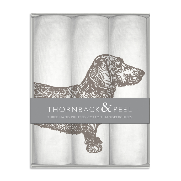Thornback & Peel Handkerchiefs Set of 3 Dachshund Dog Design, 100% Cotton, Gift Boxed