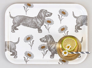 Thornback & Peel Small Serving Tray, Dog and Daisy Design, Birch Veneer