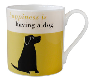 Repeat Repeat 'Happiness Is Having A Dog' Large Bone China Mug, Olive
