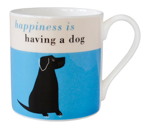 Repeat Repeat 'Happiness Is Having A Dog' Large Bone China Mug, Blue