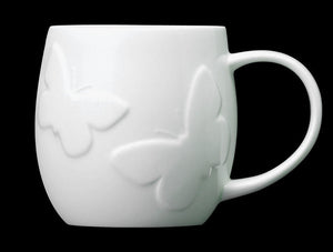 Repeat Repeat Plum White Bone China Mug - Butterfly