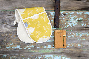 Sam Wilson Studio Headlong Hare Yellow Ochre Double Oven Gloves