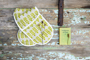 Sam Wilson Studio Green Leaf Linen Double Oven Gloves