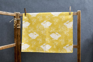 Sam Wilson Studio Headlong Hare Yellow Ochre Cotton Tea Towel