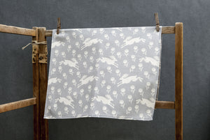 Sam Wilson Studio Running Hare Grey Cotton Tea Towel