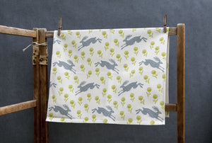 Sam Wilson Studio Running Hare Cotton Tea Towel
