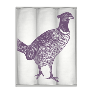 Thornback & Peel Handkerchiefs Set of 3 Pheasant Design, Purple, 100% Cotton, Gift Boxed