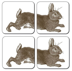 Thornback & Peel Rabbit and Cabbage Design Melamine Coaster, Set of 4