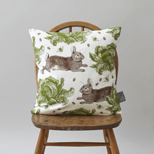 Thornback & Peel Rabbit & Cabbage Cushion on Oyster 45cm x 45cm, Linen/Cotton Blend