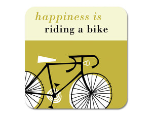Repeat Repeat 'Happiness Is Riding A Bike' Melamine Coaster, Olive