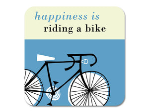 Repeat Repeat 'Happiness Is Riding A Bike' Melamine Coaster, Blue