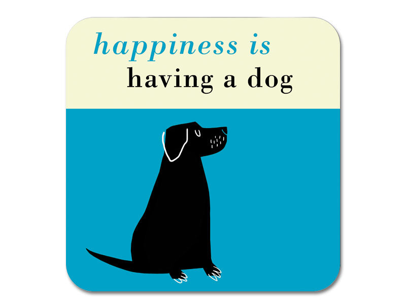 Repeat Repeat 'Happiness Is Having A Dog' Melamine Coaster, Blue