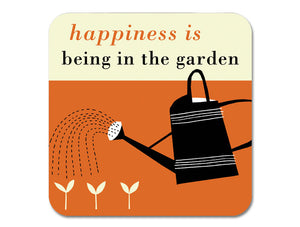 Repeat Repeat 'Happiness Is Being In The Garden' Melamine Coaster, Orange