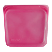 Stasher Plastic-Free Reusable Sandwich Bag with Airtight Seal, 100% Silicone,  Raspberry