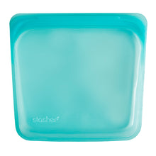 Stasher Plastic-Free Reusable Sandwich Bag with Airtight Seal, 100% Silicone, Aqua
