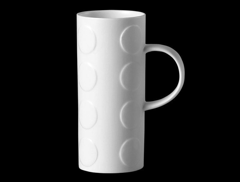 Repeat Repeat Skinny White Bone China Mug - Spots