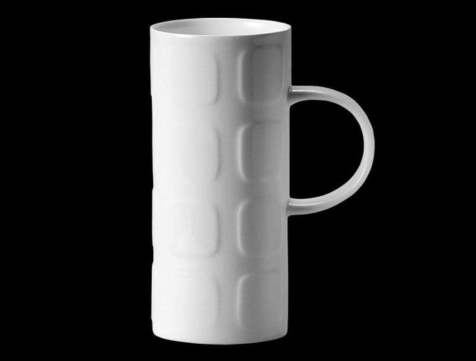 Repeat Repeat Skinny White Bone China Mug - Squares