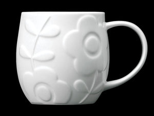 Repeat Repeat Plum White Bone China Mug - Flower