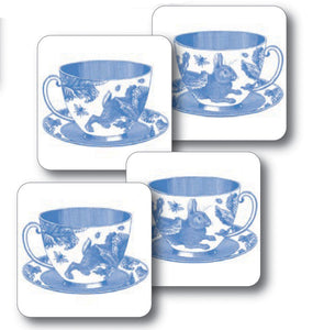 Thornback & Peel Rabbit and Cabbage Blue Teacup Design Melamine Coaster, Set of 4