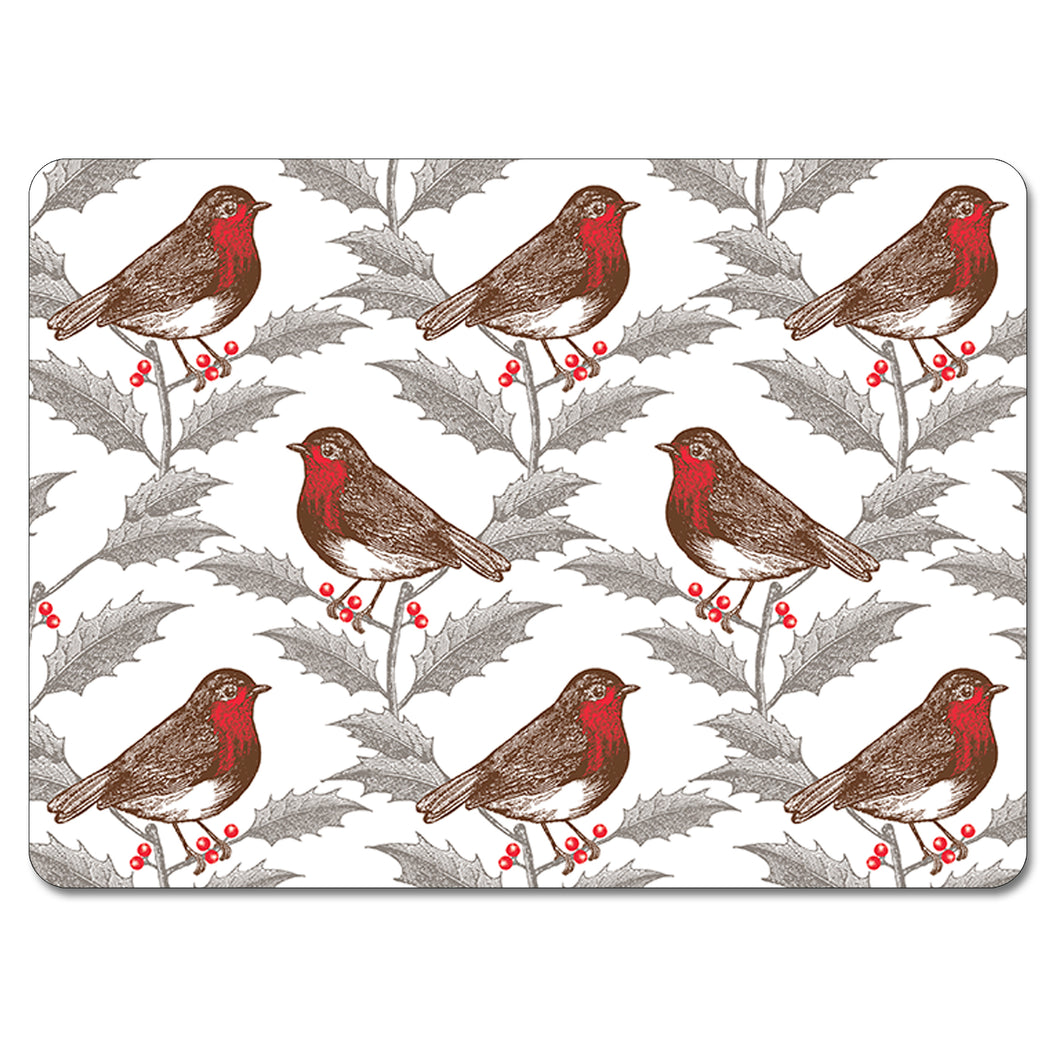 Thornback & Peel Robin and Holly Design Melamine Placement, Set of 4
