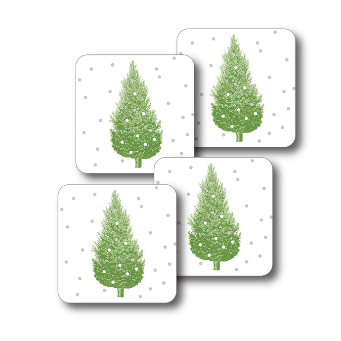 Thornback & Peel Christmas Tree Design Melamine Coaster, Set of 4
