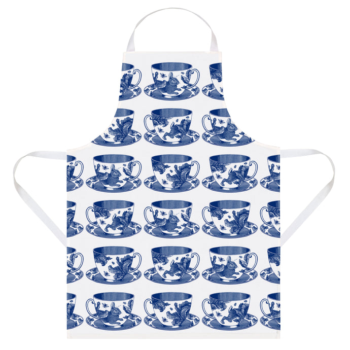 Thornback & Peel Apron Blue Teacup Rabbit and Cabbage Design, 100% Cotton