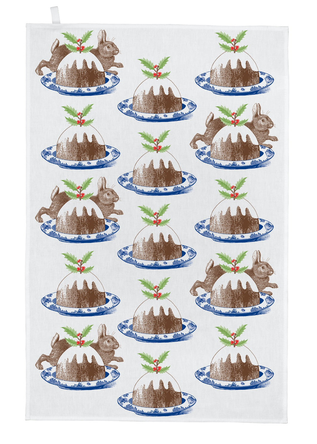 Thornback & Peel Tea Towel, Christmas Puddings and Rabbits Design, 100% Cotton