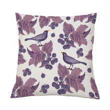 Thornback & Peel Blackbird & Bramble Cushion on Oyster 45cm x 45cm, Linen/Cotton Blend