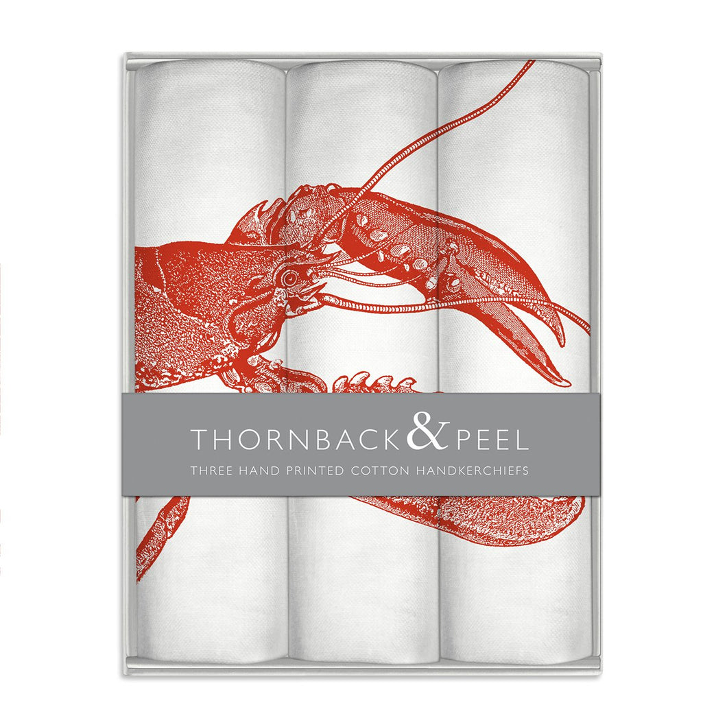 Thornback & Peel Handkerchiefs Set of 3 Lobster Design, 100% Cotton, Gift Boxed