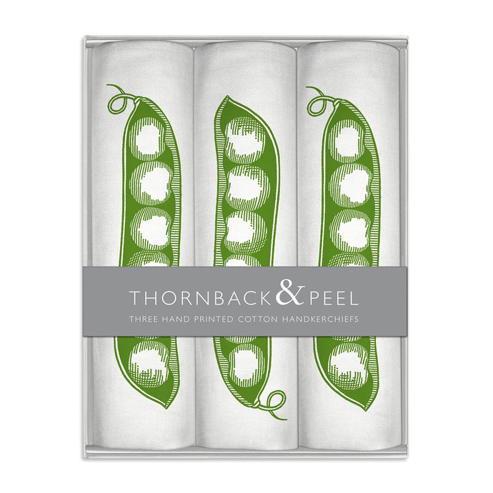 Thornback & Peel Handkerchiefs Set of 3 Pea Pod Design, 100% Cotton, Gift Boxed