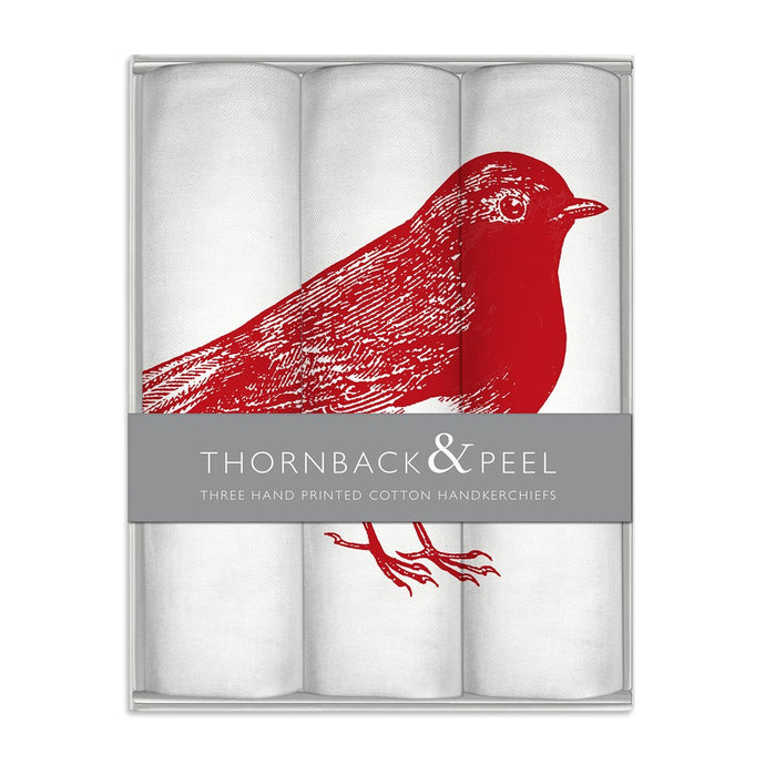 Thornback & Peel Handkerchiefs Set of 3 Robin Design, 100% Cotton, Gift Boxed