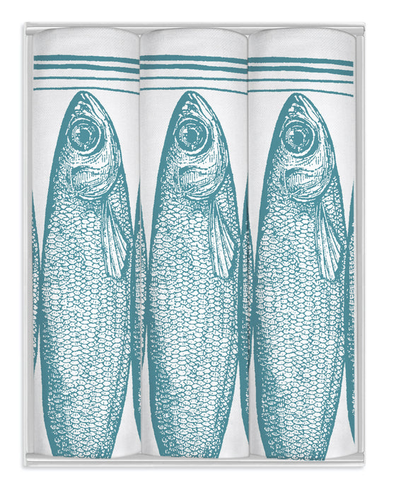 Thornback & Peel Handkerchiefs Set of 3 Sardine Tin Design, Blue, 100% Cotton, Gift Boxed