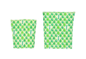 BeeBAGZ Reusable Beeswax Wrap Food Bags Snack Pack, 1 Medium, 1 Small, Green