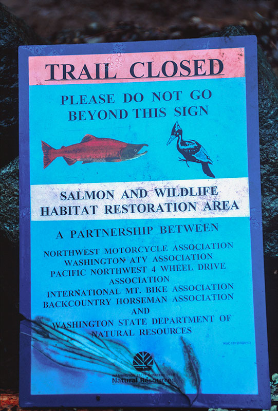 Trail Closed Sign Closeup