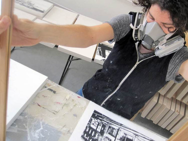Yasmine Louis screenprinting in her Toronto textile studio