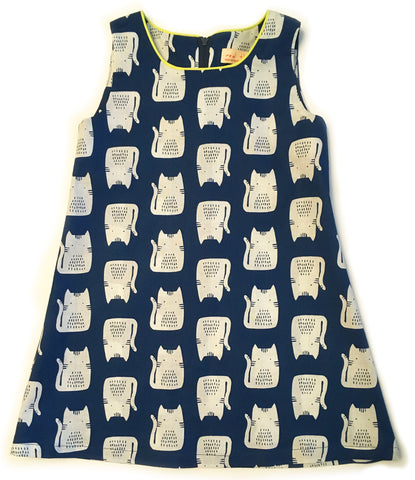 A is for A-Line Dress: Blue and White Cats