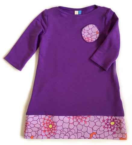 purple bamboo girls' dress handmade in Canada by Red Thread Design
